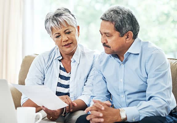 couple looking at retirement options