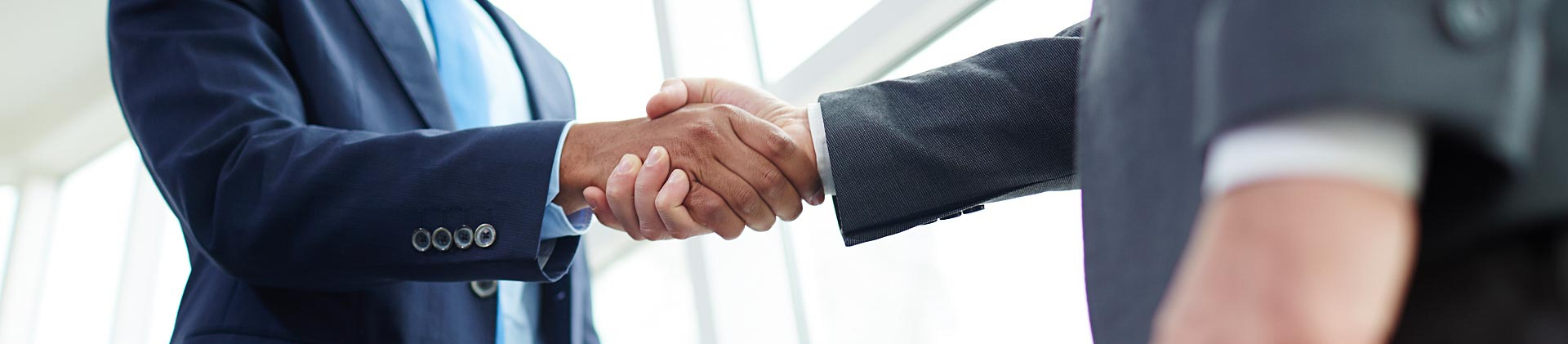 Business professionals shaking hands on deal