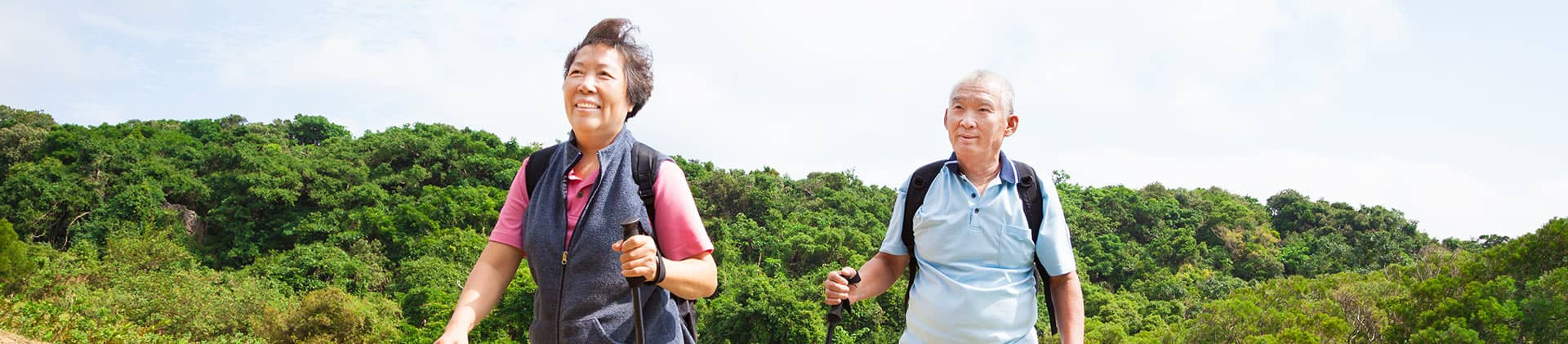 Elderly Couple Hiking Fixed Annuities SmartStep