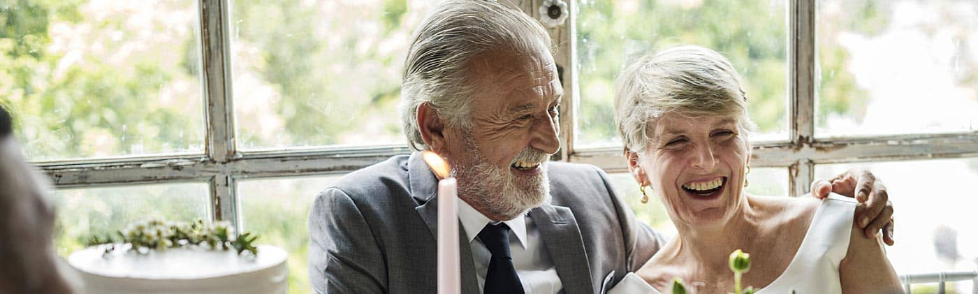 Mature bride and groom smile on their wedding day: second marriage financial advice